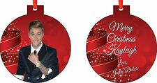 Personalized JUSTIN BIEBER 2 ORNAMENT ( Add Any Message You Want)