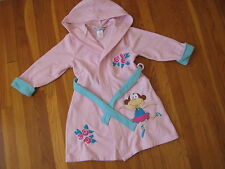 Company Store Kids pink monkey ballerina BATH ROBE fleece hooded ballet S 5 6