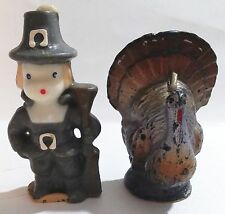 2 VINTAGE GURLEY CANDLE CO THANKSGIVING PILGRIM & TURKEY CANDLES - USA