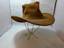 Vtg 70s CORNERSTONE HATWORKS Suede OUTBACK Hat Grass Valley CA BOHO Hippie 7 1/8