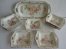 German Antique Porcelain Rose Transfer 13 Pc. Ice Cream Set Imported by MW Co.