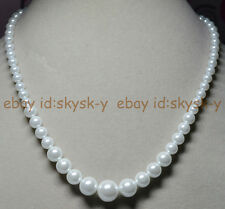 "6-14MM White South Sea Shell Pearl Round Beads Necklaces 18"" Earring Wedding AAA"