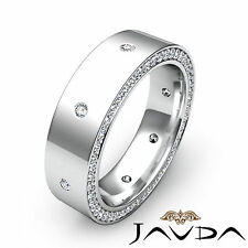 Round Diamond Mens Eternity Wedding Band Dome Pave Ring 18k White Gold 0.75Ct