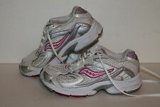 Saucony Grid Cohesion 3 Running Shoes, White/Pink/Silver, Youth US Size 4.5Y