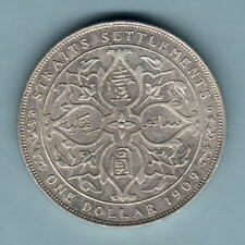 Straits Settlements. 1909 One Dollar..  Much Lustre..  gEF/aUNC