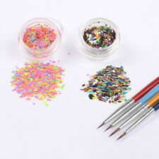 6Pcs/set 1mm-2mm Nail Art  Thin Paillette Glitter Drawing Brush Manicure DIY