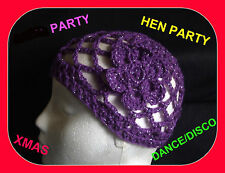 NEW SPARKLY  PURPLE CROCHET HAT HEN  PARTY 1970s DISCO DANCE fancy Dress
