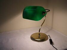 Vintage Edwardian Style Green Shade Bankers /Student Brass Table Desk Lamp Light
