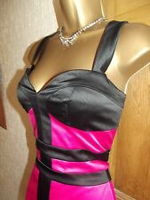 STUNNING.     JANE NORMAN  SIZE 8   PINK BLACK BODYCON WIGGLE PARTY CORSET DRESS