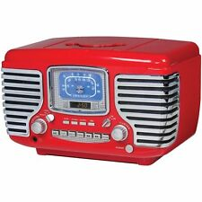 Crosley Corsair Retro Clock Radio w/ CD Player - Red - CR612-RE NEW