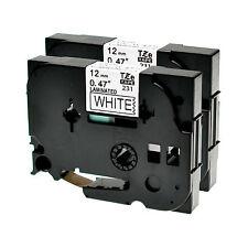2 Schriftbänder für Brother P-Touch TZE-231 8m/12mm Schwarz auf Weiß