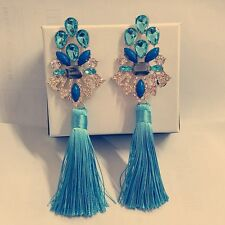 ANTHROPOLOGIE MOST AMAZING LIGHT BLUE STONES TASSELS 5,5'' DROP DANGLE EARRINGS