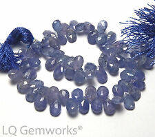 """8"""" Strand TANZANITE 7-8mm Faceted Teardrop Beads NATURAL STONE /t36"""