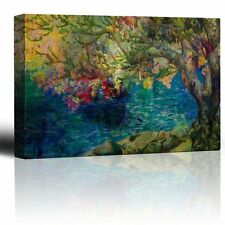 Wall26 - Colorful Painting of a Tree by a Lake - Canvas Art - 16x24 inches