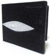 Genuine Stingray Leather Mens Bifold Wallet Fish Ray Real Skin Purse Coins Cards