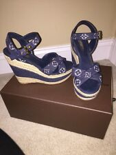 Auth Louis Vuitton Formentera Denim Wedge Sz 37.5