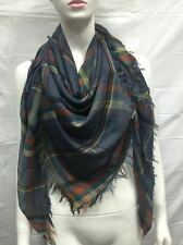 BLANKET SCARF SQUARE OVERSIZED ALL SEASON LIGHT WRAP SCARF PLAID C COLOR NAVY