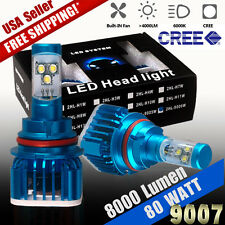 80W 8000LM HID White Cree High Power LED Hi/Lo Dual Beam Headlight Kit 9007/HB5