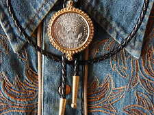 NEW BOLO TIE USA AMERICAN HALF DOLLAR COIN LEATHER CORD WESTERN,COWBOY