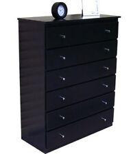 New 1 x 6 drawer TallBoy/Chest of Drawers/Black/ storage/Assembled Imperfect