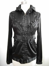 NEW YVES SAINT LAURENT black silk ruffle zip front hooded jacket French size 34