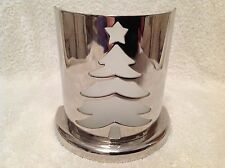 Shiny Metal Tea Light Holder Silhouette in Frosted Glass Semi-Circular Base NEW