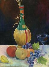 VINTAGE WINE BOTTLE GLASS GRAPES APPLE LEMON ORANGE FRUIT STILL LIFE PAINTING