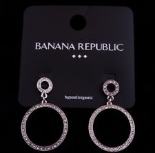 New Pair of Elegant Circle Earrings with Crystals by Banana Republic #BRE20