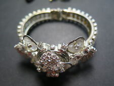 Vintage CORSAGE WOMEN'S Hidden Face Watch Silver Plated Crystal Rhinestones