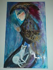 Cuban Cuba Artist Charo Hand SIGNED Painting LADY WHITE CAT RED HAT HAVANA 46