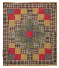 "EMERY QUILTED THROW BLANKET 50X60"" TRIP AROUND THE WORLD QUILT PATTERN"
