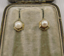 A Pretty Vintage Pair of Pearl Earrings set in 9ct Yellow Gold