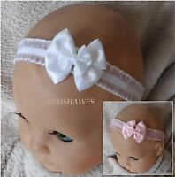 Satin Bow with Shimmer Frill Baby Headband- White or Pink- Wedding / Christening