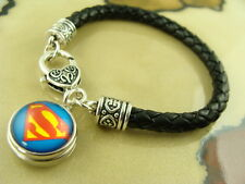 SUPERMAN snap button charm on Black braided leather silver bracelet