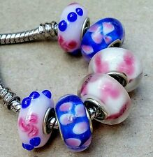6 White Pink Royal Blue Orchid Flowers Single Core European Murano Glass Beads