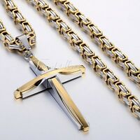 Black Silver Gold Mens Chain Stainless Steel Cross Pendant  Byzantine Necklace