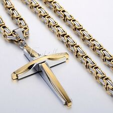 Men Chain Silver Black Gold Stainless Steel Cross Pendant Byzantine Necklace HOT