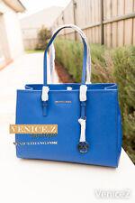 BNWT $449 MICHAEL KORS Jet Set Travel Leather Tote Handbag Shoulder Bag Blue