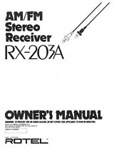 Rotel RX-203A Receiver Owners Instruction Manual