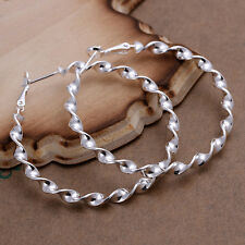 925 Sterling Silver Hoop Pierced Earrings L101