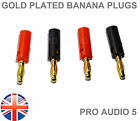 8x Gold Plated Banana Plugs 4mm (4 Pairs) For Speaker Wire & Amps Hi-Fi - UK