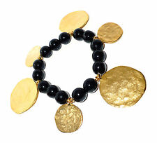 Kenneth Jay Lane KJL Vendita! moneta d'oro Nero Perlina Bracciale Stretch (RRP £ 58)