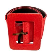 YSL BELT - RED PATENT LEATHER SQUARE BUCKLE GOLD YVES SAINT LAURENT
