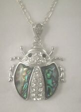 Necklace/Pendant Ladybug Abalone Shell new w/ chain & box rhinestone lady bug