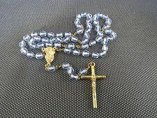 CHAPELET ANCIEN en perles bleues CROIX RELIEUSE JESUS CHRIST religion chretienne