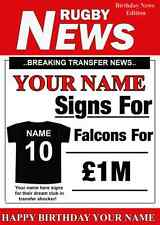 A5 Personalised Newcastle (Falcons)  FAN Greeting Birthday Card Rugby PID200