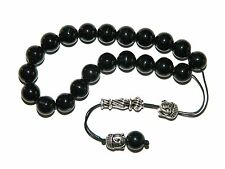 0002 Loose Strung Greek Komboloi Prayer Beads  21 x 10mm - Black Agate Gemstone