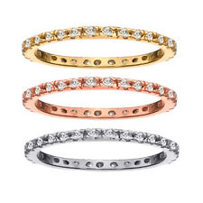 Sterling Silver with 18K Gold Overlay CZ Eternity Band Stackable Rings Set Sz 8