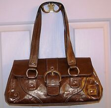 RELATIVITY LEATHER HANDBAG PURSE BRONZE WITH VINYL TRIM