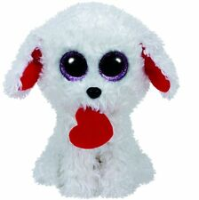 TY Beanie Boos Honey Bun White Dog with Heart Plush